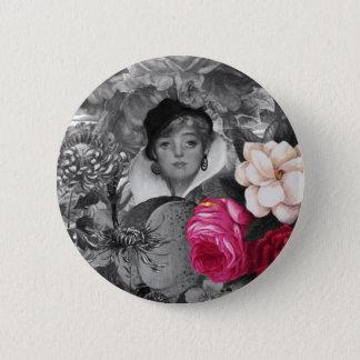 Vintage Woman Flower Garden Pinback Button