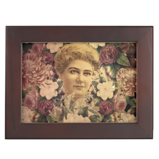 Vintage Woman Flower GrungeII Keepsake Box