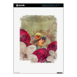Vintage Woman Flower Rose Grunge iPad 3 Decals