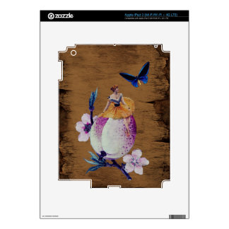 Vintage Woman Flower Wood Texture Decal For iPad 3