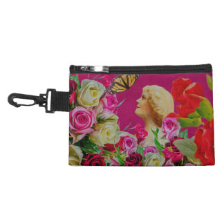 Vintage Woman Flowers Butterfly Accessory Bag