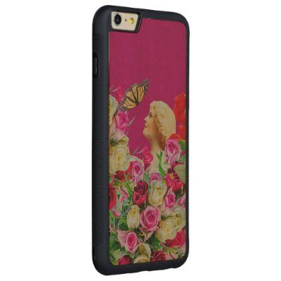 Vintage Woman Flowers Butterfly Carved® Maple iPhone 6 Plus Bumper Case