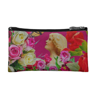 Vintage Woman Flowers Butterfly Cosmetic Bag