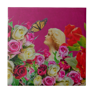Vintage Woman Flowers Butterfly Tile