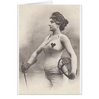 Vintage Woman Foil Fencer Note Card