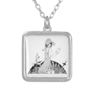Vintage Woman Gardener in Sunbonnet Silver Plated Necklace
