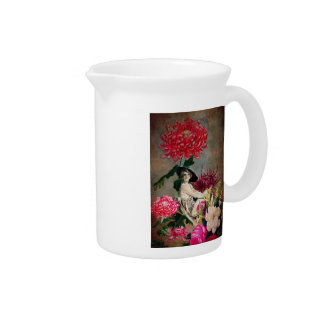 Vintage Woman Glass Floral Collage Pitchers