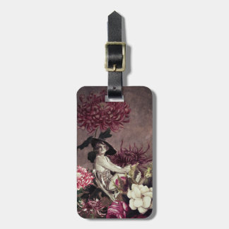Vintage Woman Glass Floral Collage  Tags For Bags