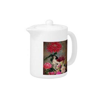 Vintage Woman Glass Floral Collage  Teapot