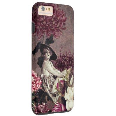 Vintage Woman Glass Floral Collage Tough iPhone 6 Plus Case