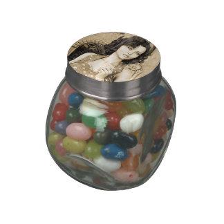 Vintage Woman Glass Jar