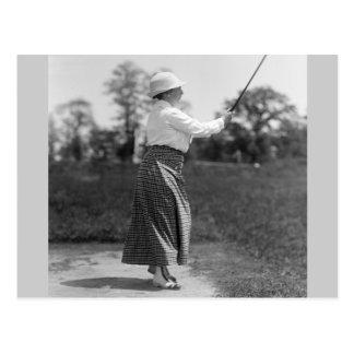 Vintage Woman Golfing, 1910s Postcard
