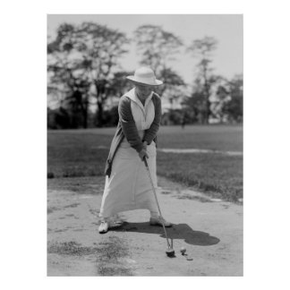 Vintage Woman Golfing, 1910s Poster