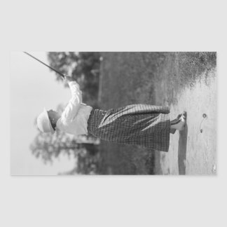 Vintage Woman Golfing, 1910s Rectangle Stickers
