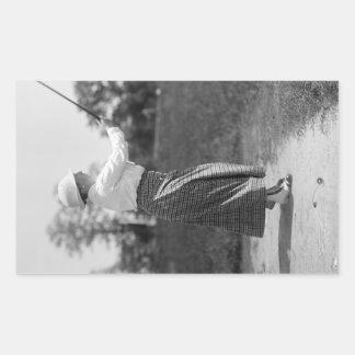 Vintage Woman Golfing, 1910s Rectangular Sticker