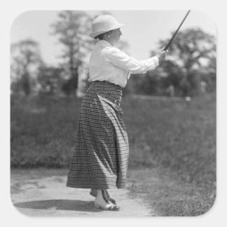 Vintage Woman Golfing, 1910s Square Sticker