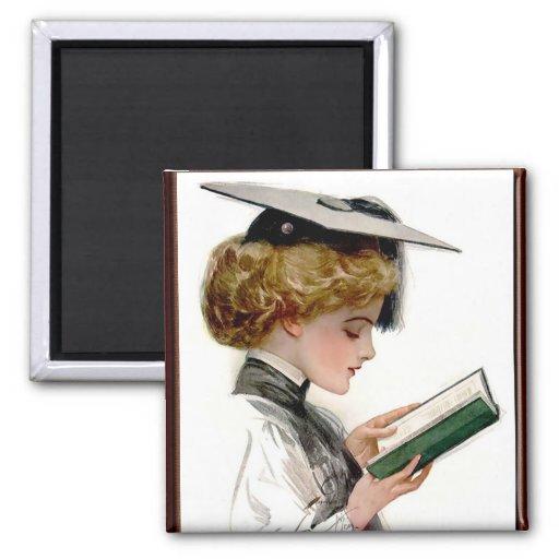 Vintage Woman Graduate 2 Inch Square Magnet