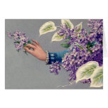 Vintage woman holding Flowers Notecard Card