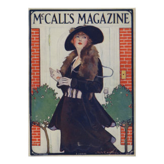 Vintage Woman in Black on Magazine from 1915 Poster