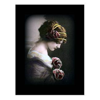 Vintage Woman in Black Postcard