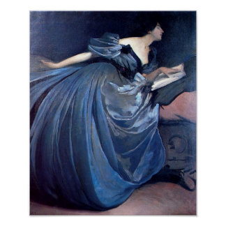 Vintage Woman in Blue Poster