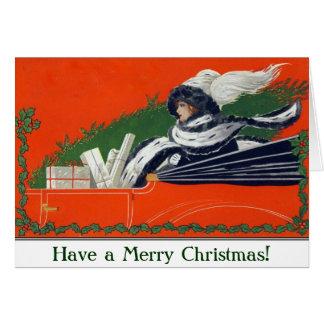 Vintage Woman in Car Christmas Card