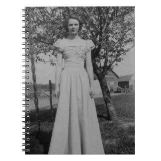 Vintage Woman In Formal Dress Photo Note Book