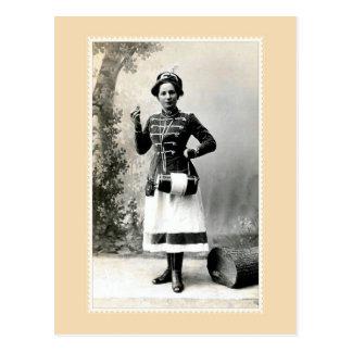 Vintage woman in mountain rescue gear photo postcard