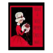 Vintage Woman in Red and White Fur Christmas Postcard