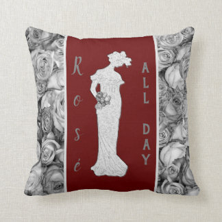 Vintage Woman in Roses Throw Pillow