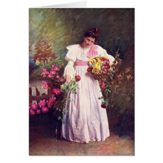 Vintage - Woman in the Garden Card