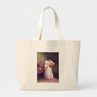 Vintage - Woman in the Garden Jumbo Tote Bag