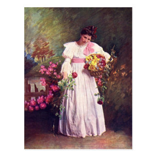 Vintage - Woman in the Garden Postcard