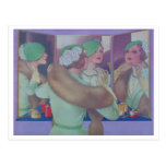 Vintage Woman in the Mirror Postcard