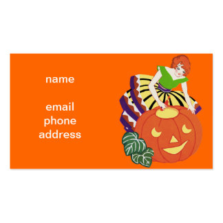 Vintage Woman Jack O' Lantern Double-Sided Standard Business Cards (Pack Of 100)