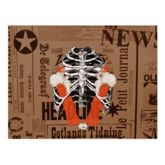 Vintage Woman Lips Ribcage News Grunge Postcard