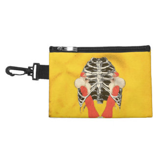 Vintage Woman Lips Ribcage Yellow Grunge Accessory Bag