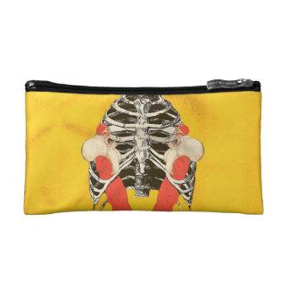 Vintage Woman Lips Ribcage Yellow Grunge Cosmetic Bag