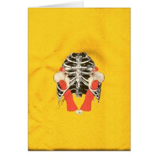 Vintage Woman Lips Ribcage Yellow Grunge Greeting Card