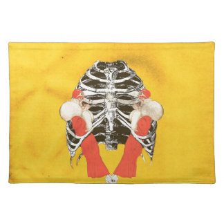 Vintage Woman Lips Ribcage Yellow Grunge Placemat