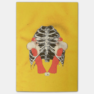 Vintage Woman Lips Ribcage Yellow Grunge Post-it® Notes