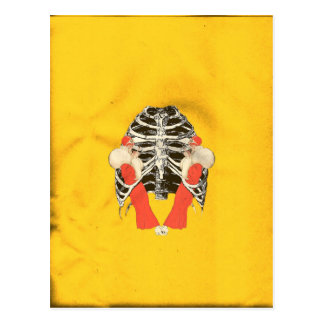 Vintage Woman Lips Ribcage Yellow Grunge Postcard