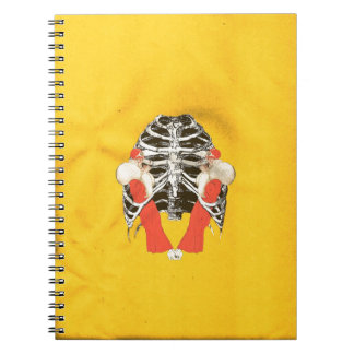 Vintage Woman Lips Ribcage Yellow Grunge Spiral Notebook