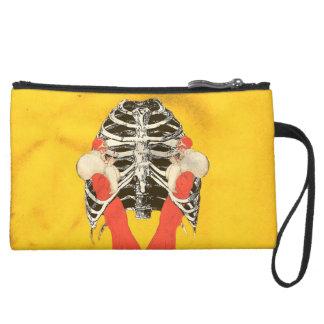 Vintage Woman Lips Ribcage Yellow Grunge Suede Wristlet Wallet