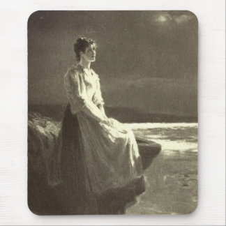 Vintage - Woman Looking Out To Sea Mouse Pad