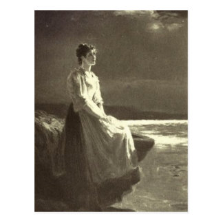 Vintage - Woman Looking Out To Sea Postcard