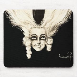 Vintage Woman Marionette French Portrait Creepy Mouse Pad