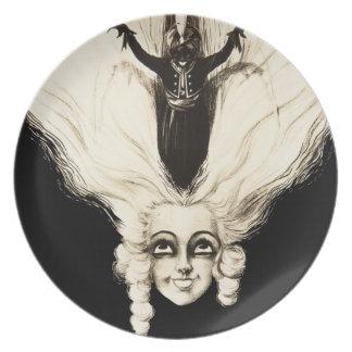 Vintage Woman Marionette French Portrait Creepy Plate