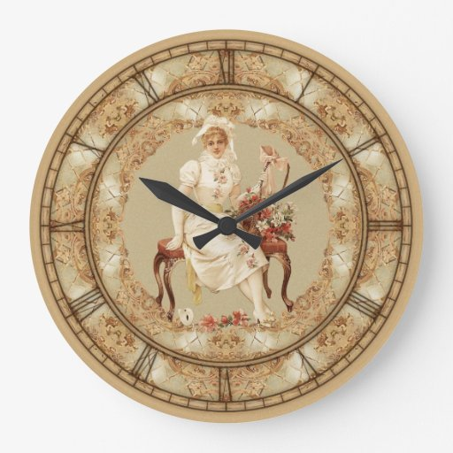 Vintage Woman On Bench Wall Clock
