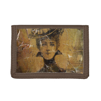 Vintage Woman Paris Grunge Trifold Wallet